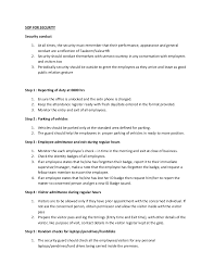 Security Guard Job Description For Resume by Sop For Security