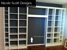 Bookshelves In Ikea by Built In Bookshelves And Desk Using Ikea Hemnes With Crown Molding