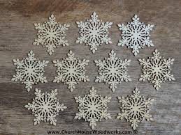 3 inch snowflake wood christmas ornaments 10 pack style 1