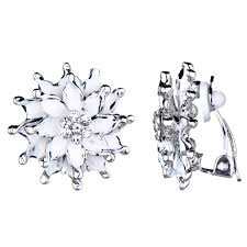 clip on earrings s s silvertone and white flower clip on earrings