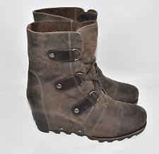 sorel womens joan of arctic wedge mid boots nl1987 grill black