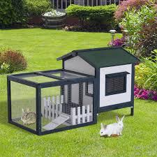 aosom pawhut wooden rabbit hutch with outdoor run