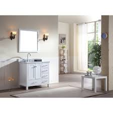 37 inch single sink white finish bathroom vanity carrara white