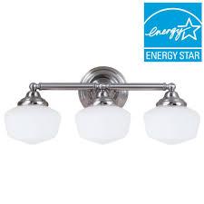 sea gull lighting academy 3 light brushed nickel vanity light