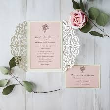 pink and gold wedding invitations gold glittery laser cut pink bouquet wedding invites ewws174 as