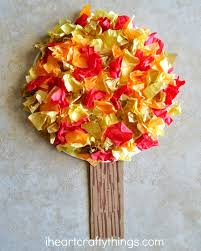 tissue paper fall tree craft i crafty things