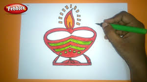 how to draw diwali greeting drawing easy and colourful diwali
