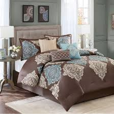 monroe in chocolate brown aqua and khaki comforter sets by