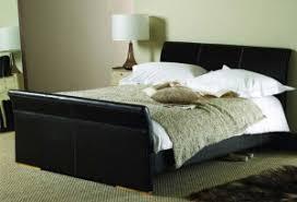 black white faux leather eastern king size platform bed frame w