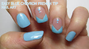 chevron tape nail art tutorial easy blue chevron french tip nail art youtube