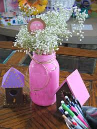Mason Jar Baby Shower Ideas Woodland Baby Shower 13 Love The Babys Breath In Mason Jars