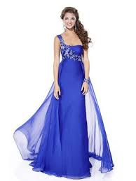 empire style one shoulder royal blue floor length chiffon