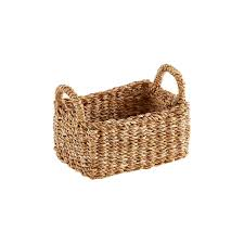 wicker basket with leather handles small hogla storage basket with handles the container store