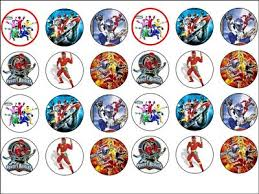 power rangers cake toppers 24 x power rangers rice wafer paper cup cake bun toppers