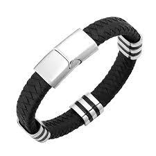 s bracelet stainless steel striped station and herringbone leather bracelet