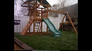 outdoors lowes wooden swing sets gorilla playsets landing