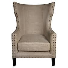 Nailhead Accent Chair Sinclair Country Burlap Nailhead Wing Back Accent Chair