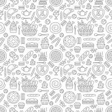 seamless pattern food bakery seamless pattern food vector background of black white