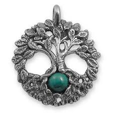 celtic tree of sterling silver pagan jewelry pendant with