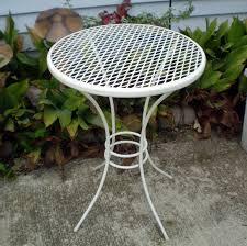 white round patio table vintage metal patio table plant stand 18 tall white round mesh