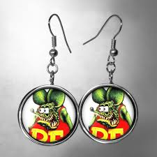 rockabilly earrings buy a made sterling silver rat fink hot rod rockabilly