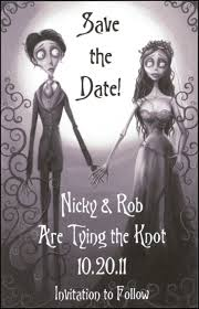 corpse bride gothic halloween themed save the date wedding magnets