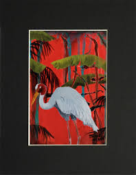 matted print of sarus crane painting set in a tropical red background
