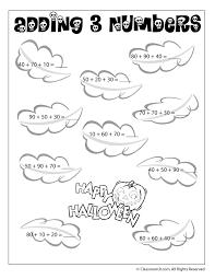 adding 3 numbers multiples of ten halloween math worksheet woo