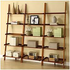 ladder shelf bookcase storage wood home rack leaning bookshelf