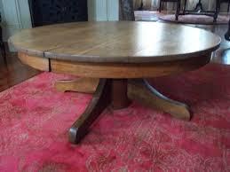 antique round coffee table impressive on round pedestal coffee table antique tiger oak round