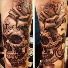 skeleton rose tattoo for design idea for men and women