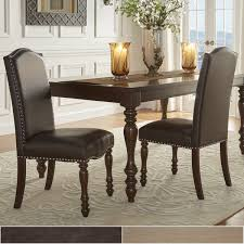 parisian nailhead upholstered dining chairs set of 2 by inspire