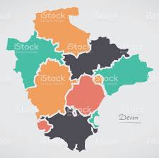 Devon England Map by Devon England Map With States And Modern Round Shapes Stock Vector