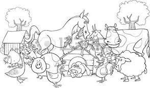cartoon illustration farm animals group coloring book
