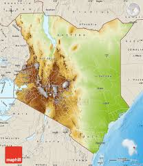 geographical map of kenya physical map of kenya shaded relief outside