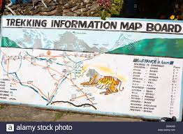 Himilayas Map A Map At A Tea House Lodge On The Annapurna Base Camp Trek Stock