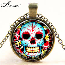 fancy color skull pictures glass cabochon dome necklace flower