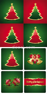 8 vector christmas tree card the decorated background design
