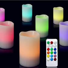 3 pcs set changing color led light flameless candles with