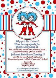 dr seuss birthday invitations dr seuss birthday invitation invitations thing 1 and thing 2