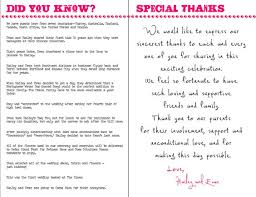 wedding thank you notes wording did you in the wedding program wedding