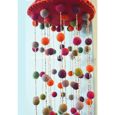 colorful handmade felt balls wind chime felt rugs