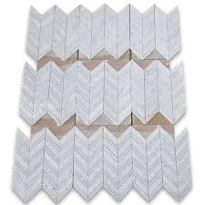 carrara white 1x4 chevron mosaic tile w lines polished marble