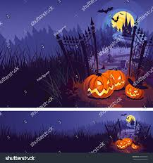 halloween pumpkins background halloween pumpkins dark castle on blue stock vector 668566030