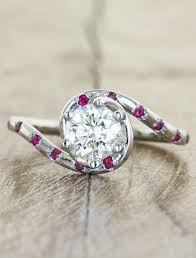rings with ruby images Meera ruby accented diamond engagement ring wave band ken dana jpg
