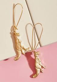 t rex earrings modcloth totally t rex earrings in pink lyst
