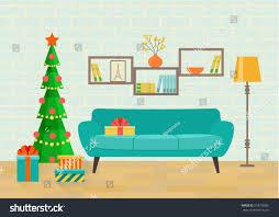 retro interior living room bookcasesofa christmas stock vector