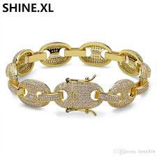 mens jewelry bracelet images Hip hop men jewelry bracelet copper iced out gold silver color jpg