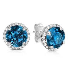 topaz earrings cut london blue topaz stud earrings with diamonds in 14k