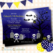Skeleton Birthday Invitations Halloween Birthday Invitations
